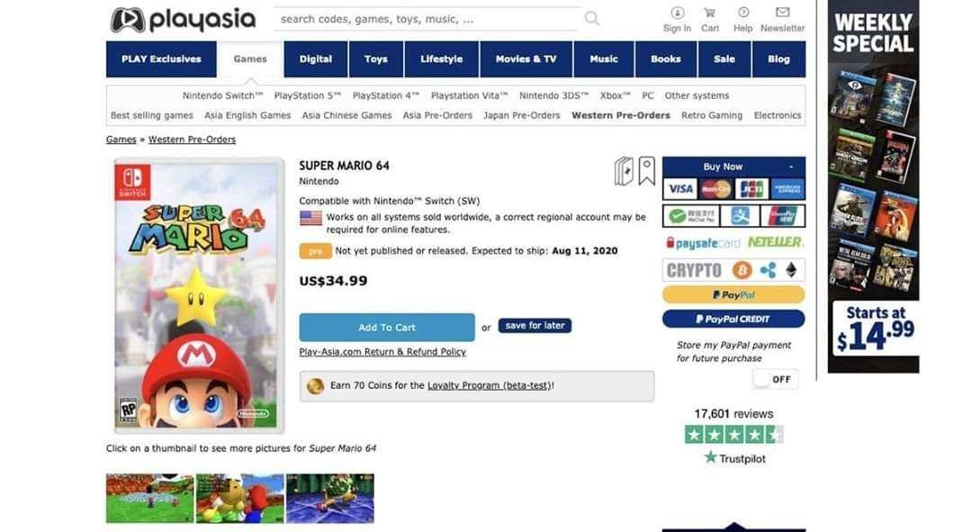 Rumor - Super Mario 64 para Switch